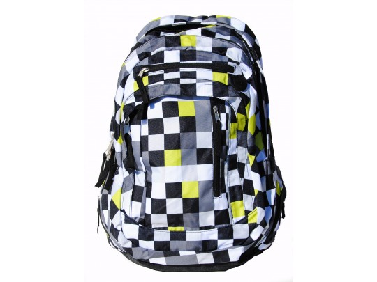 Sort-hvitt-grått-gult firkantmønster